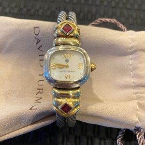 Authentic David Yurman SS & 14 K Gold Watch